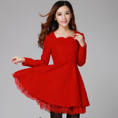 2015-new-winter-woolen-red-dress-Slim-Korean-fashion-models-sweet-temperament-temperament-long-sleeve-women